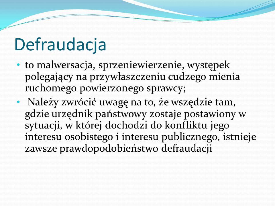 Defraudacja to malwersacja, sprzeniewierzenie, występek polegający na przywłaszczeniu cudzego mienia ruchomego powierzonego sprawcy; Należy zwrócić uw
