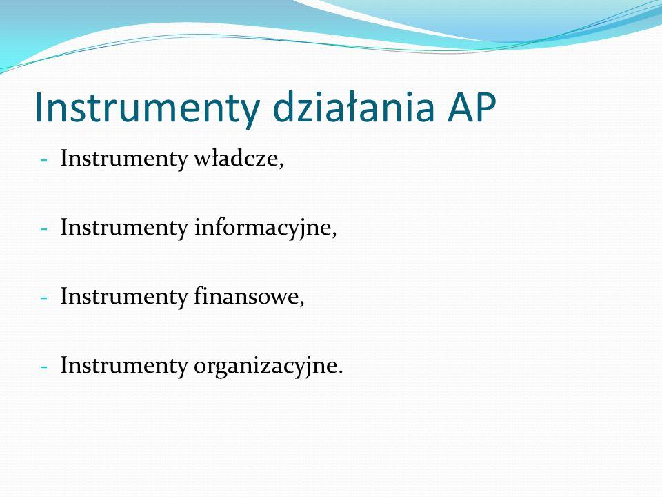 Instrumenty działania AP - Instrumenty władcze, - Instrumenty informacyjne, - Instrumenty finansowe, - Instrumenty organizacyjne.