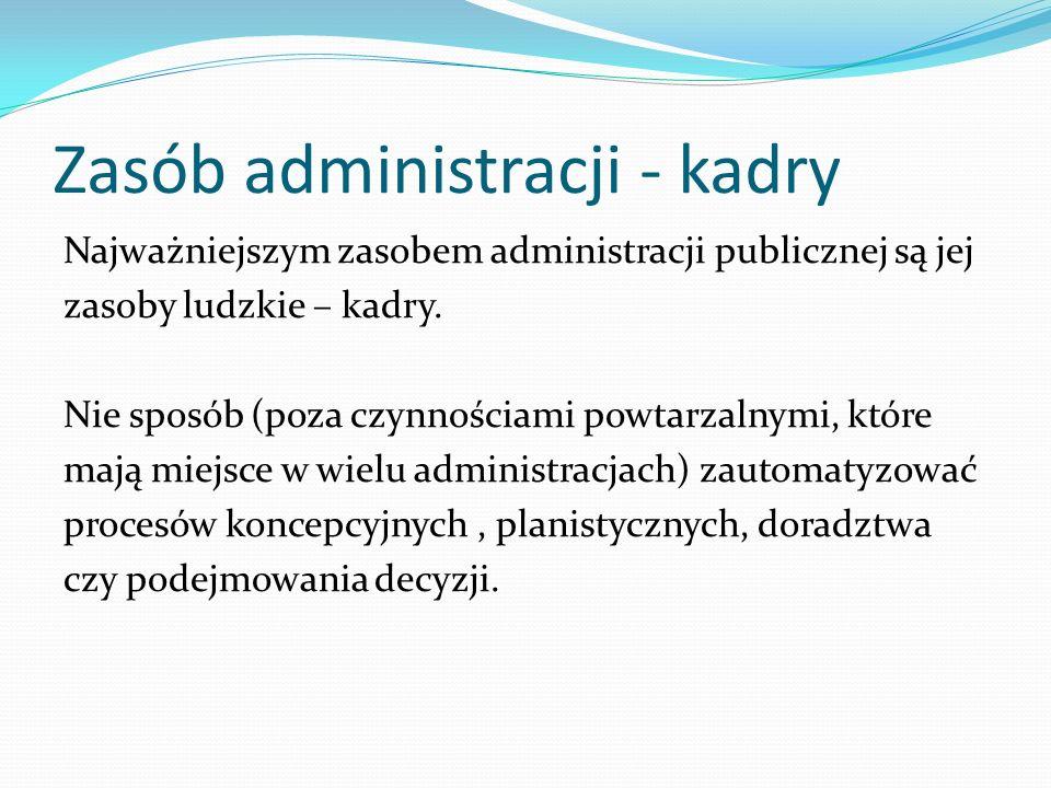 Zasób administracji - kadry Najważniejszym zasobem administracji publicznej są jej zasoby ludzkie – kadry. Nie sposób (poza czynnościami powtarzalnymi