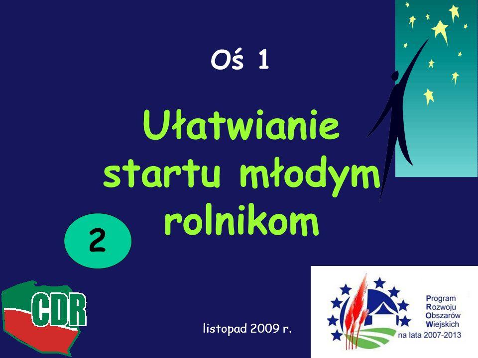 1 Oś 1 Ułatwianie startu młodym rolnikom 2 listopad 2009 r.