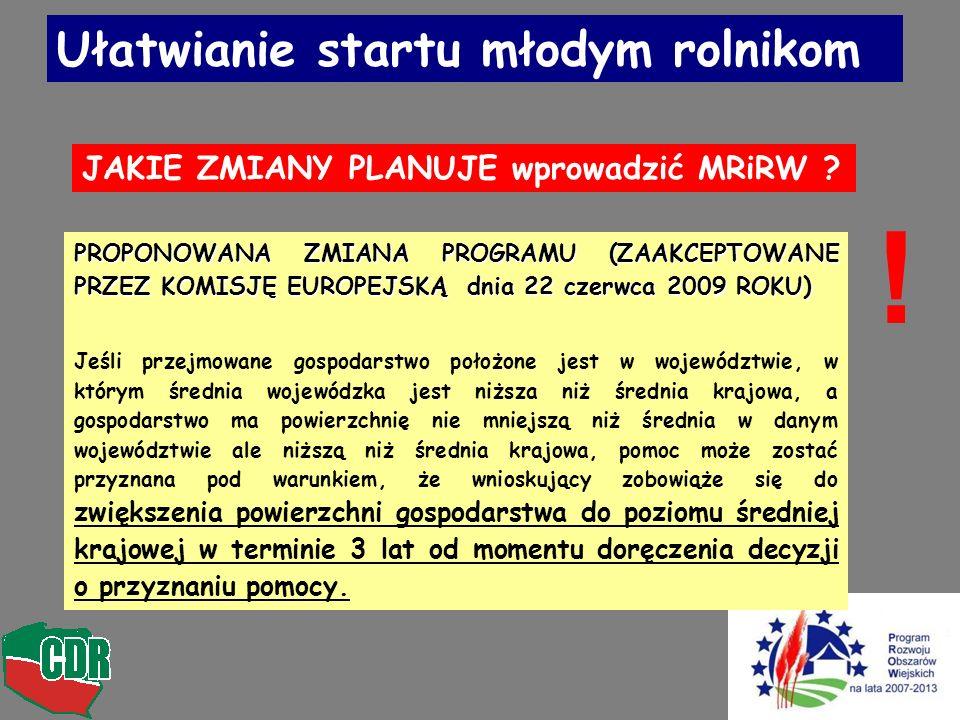 Ułatwianie startu młodym rolnikom PROPONOWANA ZMIANA PROGRAMU (ZAAKCEPTOWANE PRZEZ KOMISJĘ EUROPEJSKĄ dnia 22 czerwca 2009 ROKU) Jeśli przejmowane gos