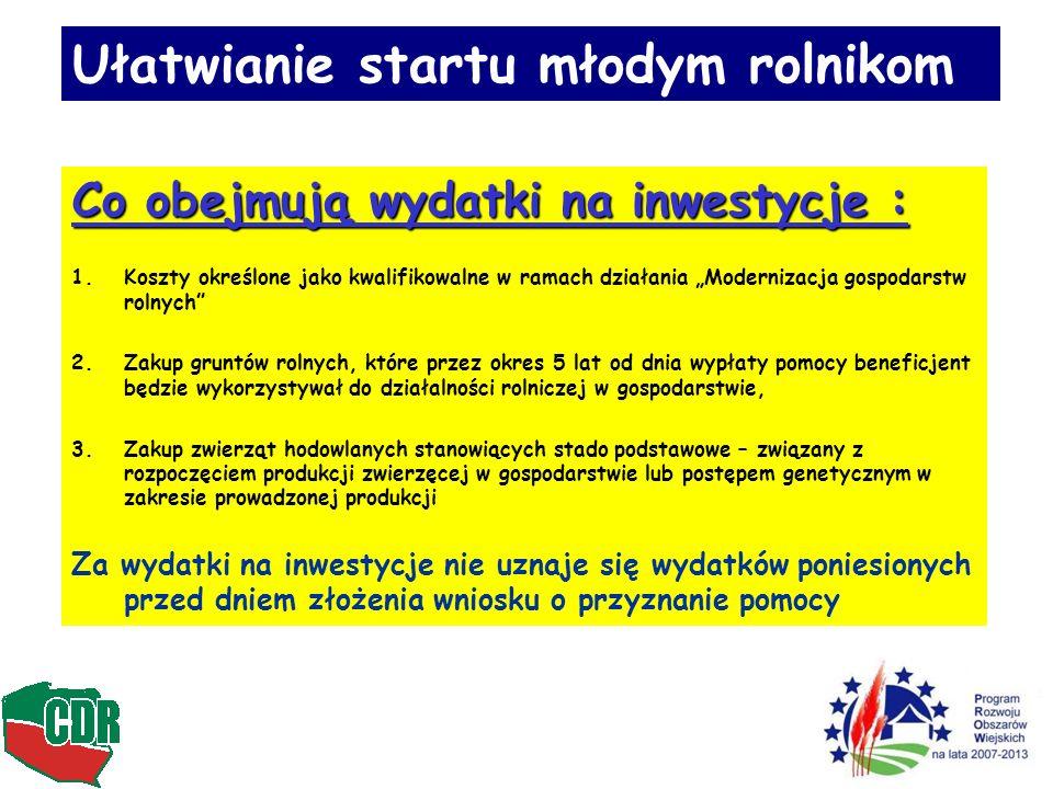 Ułatwianie startu młodym rolnikom Co obejmują wydatki na inwestycje : 1.Koszty określone jako kwalifikowalne w ramach działania Modernizacja gospodars