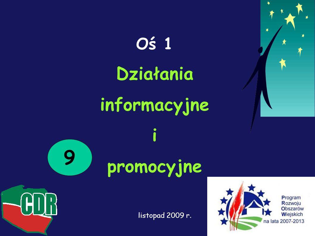 Oś 1 Działania informacyjne i promocyjne 9 listopad 2009 r.