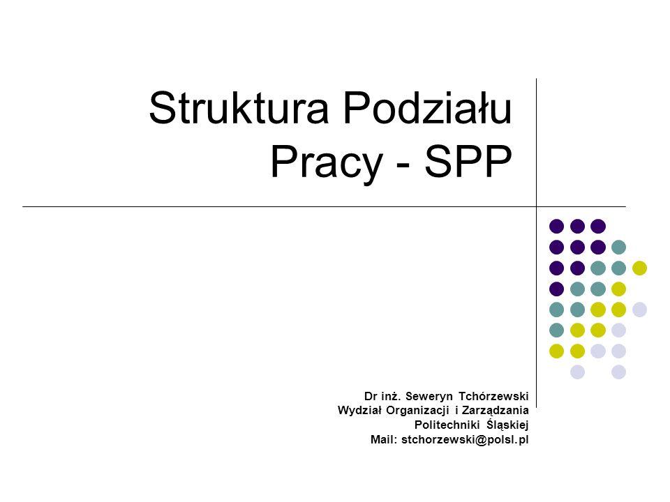 SPP - Forma tablicy Projekt w postaci spisu Faza 1 zadanie 1 podzadanie 1 podzadanie 2 podzadanie n zadanie 2 podzadanie 1 podzadanie 2 podzadanie n Faza 2 zadanie 1 podzadanie 1 podzadanie 2 podzadanie n