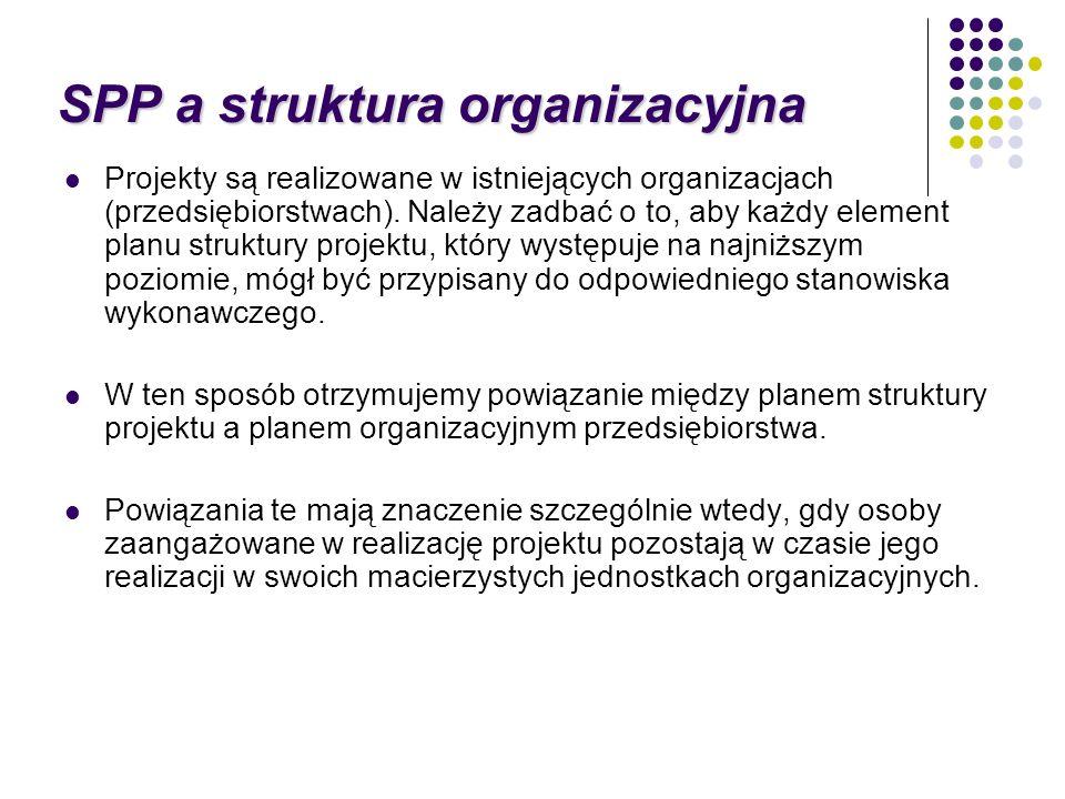 Projekty są realizowane w istniejących organizacjach (przedsiębiorstwach). Należy zadbać o to, aby każdy element planu struktury projektu, który wystę