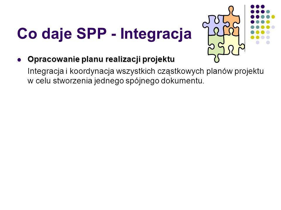 Co daje SPP - Integracja Opracowanie planu realizacji projektu Opracowanie planu realizacji projektu Integracja i koordynacja wszystkich cząstkowych p