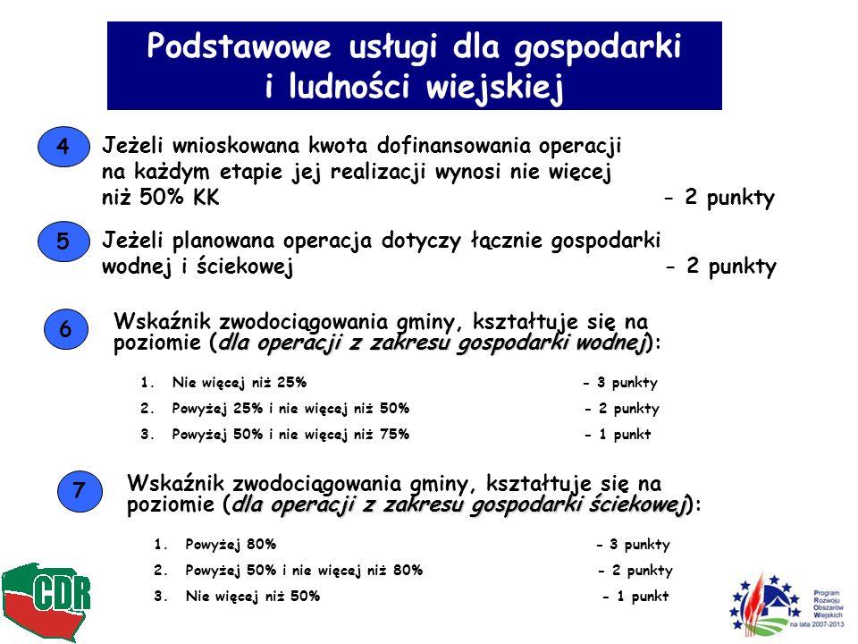 Podstawowe usługi dla gospodarki i ludności wiejskiej 4 Jeżeli wnioskowana kwota dofinansowania operacji na każdym etapie jej realizacji wynosi nie wi