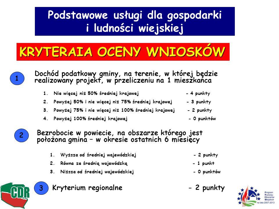Podstawowe usługi dla gospodarki i ludności wiejskiej KRYTERAIA OCENY WNIOSKÓW Dochód podatkowy gminy, na terenie, w której będzie realizowany projekt