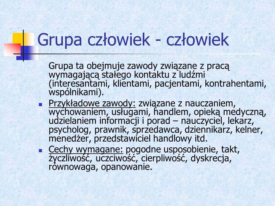 Grupa człowiek - człowiek Grupa ta obejmuje zawody związane z pracą wymagającą stałego kontaktu z ludźmi (interesantami, klientami, pacjentami, kontra