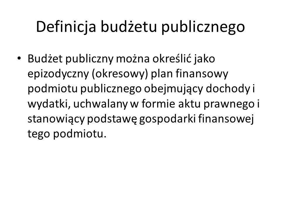Definicja budżetu publicznego Budżet publiczny można określić jako epizodyczny (okresowy) plan finansowy podmiotu publicznego obejmujący dochody i wyd