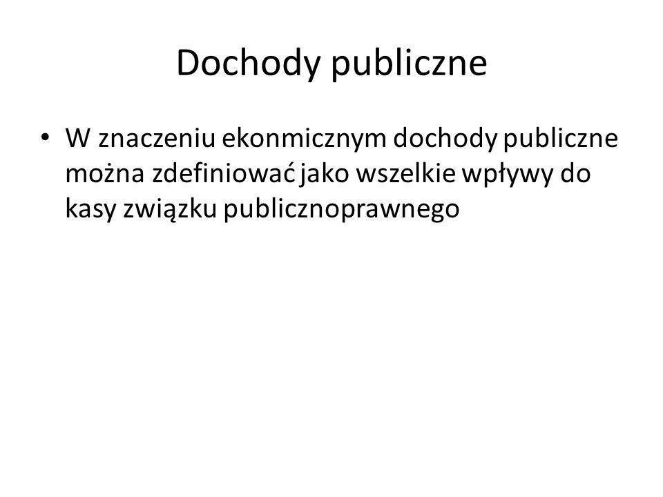 Dochody publiczne W znaczeniu ekonmicznym dochody publiczne można zdefiniować jako wszelkie wpływy do kasy związku publicznoprawnego