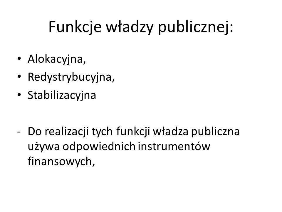 Funkcje władzy publicznej: Alokacyjna, Redystrybucyjna, Stabilizacyjna -Do realizacji tych funkcji władza publiczna używa odpowiednich instrumentów fi