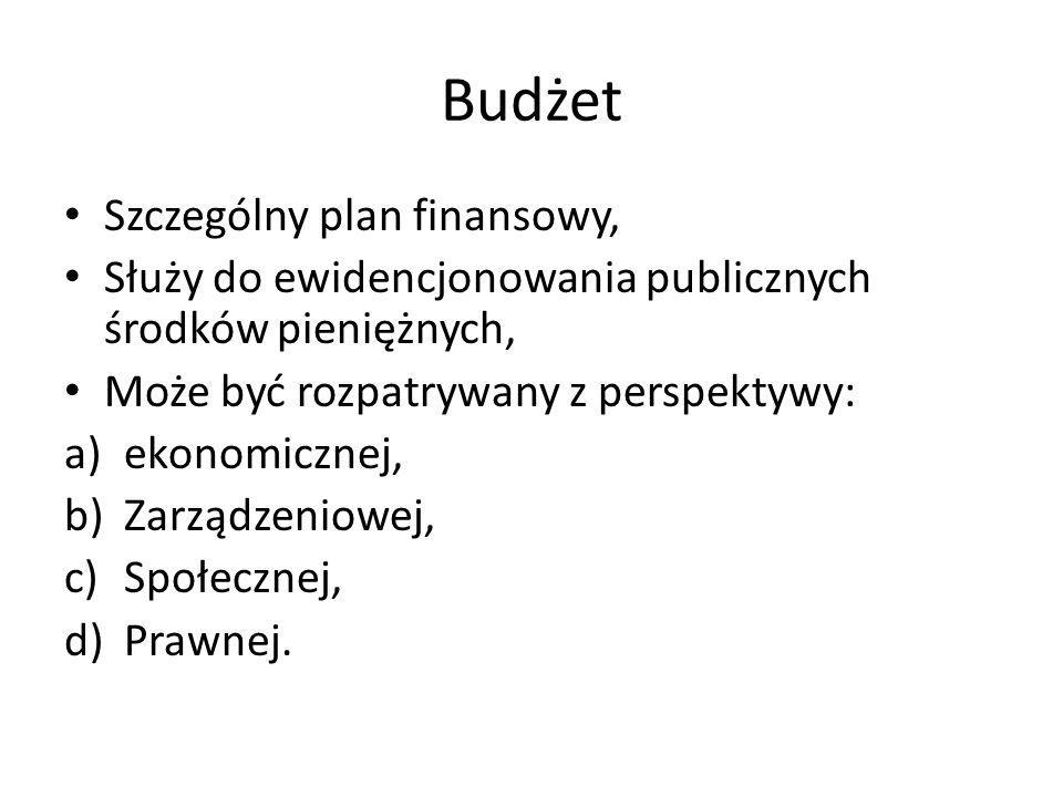 Budżet Szczególny plan finansowy, Służy do ewidencjonowania publicznych środków pieniężnych, Może być rozpatrywany z perspektywy: a)ekonomicznej, b)Za