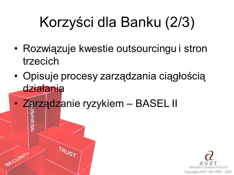 Korzyści dla Banku (2/3) Rozwiązuje kwestie outsourcingu i stron trzecich Opisuje procesy zarządzania ciągłością działania Zarządzanie ryzykiem – BASE