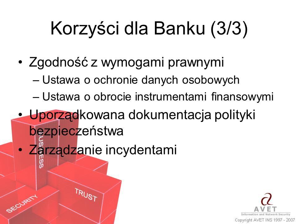 Korzyści dla Banku (3/3) Zgodność z wymogami prawnymi –Ustawa o ochronie danych osobowych –Ustawa o obrocie instrumentami finansowymi Uporządkowana do