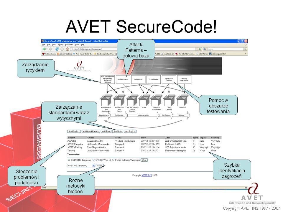 AVET SecureCode! Zarządzanie ryzykiem Śledzenie problemów i podatności Różne metodyki błędów Attack Patterns – gotowa baza Pomoc w obszarze testowania