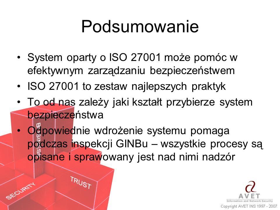 Podsumowanie System oparty o ISO 27001 może pomóc w efektywnym zarządzaniu bezpieczeństwem ISO 27001 to zestaw najlepszych praktyk To od nas zależy ja