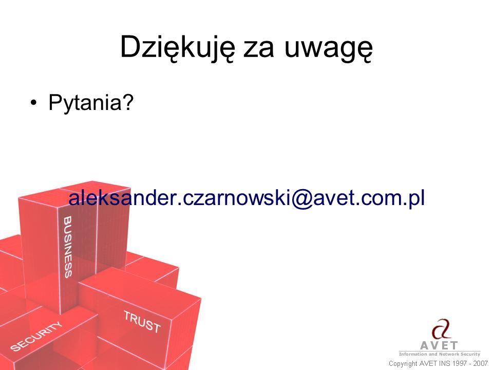 Dziękuję za uwagę Pytania? aleksander.czarnowski@avet.com.pl