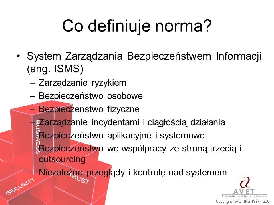 Co definiuje norma? System Zarządzania Bezpieczeństwem Informacji (ang. ISMS) –Zarządzanie ryzykiem –Bezpieczeństwo osobowe –Bezpieczeństwo fizyczne –