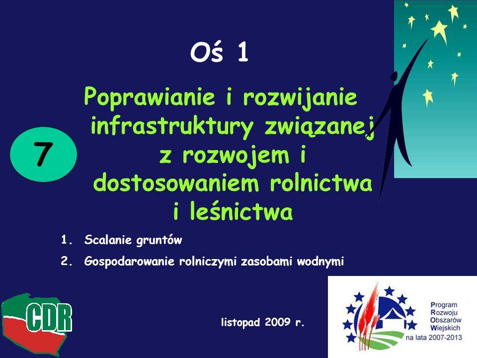Oś 1 Poprawianie i rozwijanie infrastruktury związanej z rozwojem i dostosowaniem rolnictwa i leśnictwa 1.Scalanie gruntów 2.Gospodarowanie rolniczymi