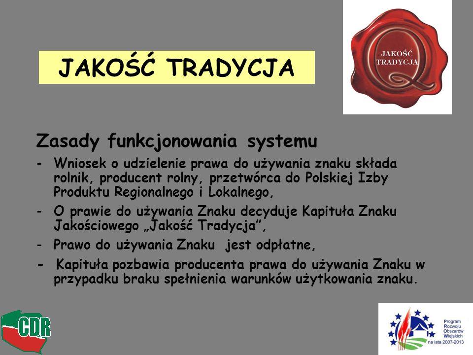 Zasady funkcjonowania systemu -Wniosek o udzielenie prawa do używania znaku składa rolnik, producent rolny, przetwórca do Polskiej Izby Produktu Regio