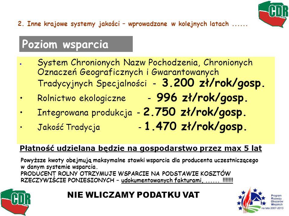 2. Inne krajowe systemy jakości – wprowadzane w kolejnych latach...... System Chronionych Nazw Pochodzenia, Chronionych Oznaczeń Geograficznych i Gwar