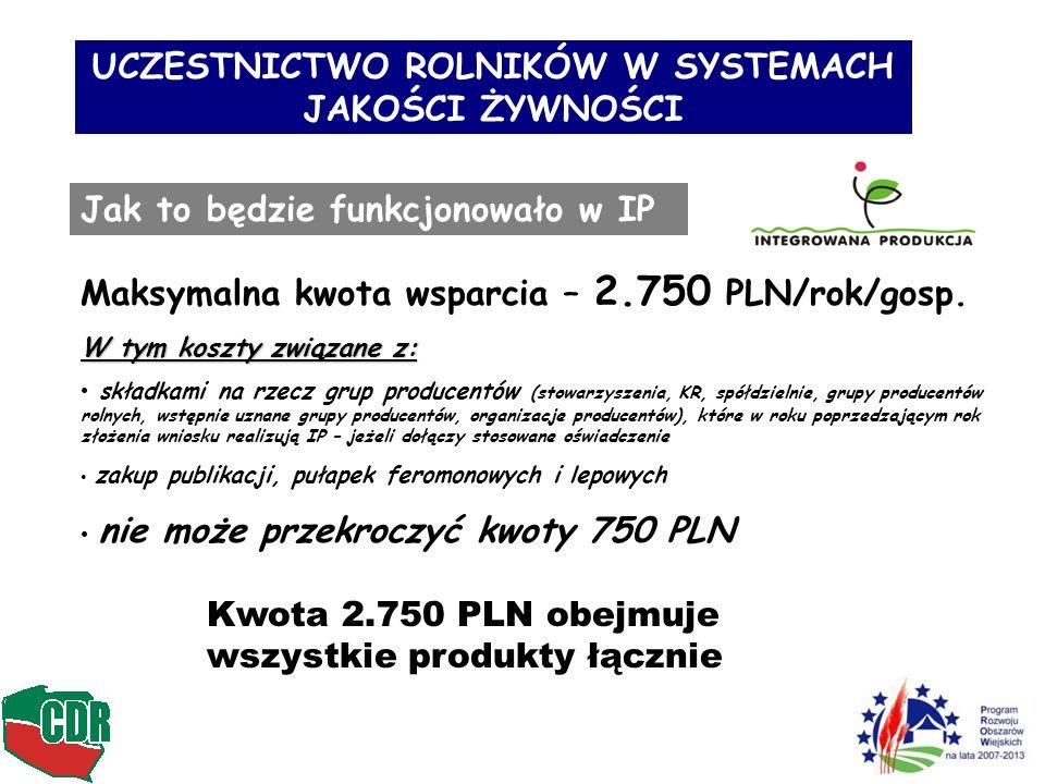 UCZESTNICTWO ROLNIKÓW W SYSTEMACH JAKOŚCI ŻYWNOŚCI Jak to będzie funkcjonowało w IP Maksymalna kwota wsparcia – 2.750 PLN/rok/gosp. W tym koszty związ