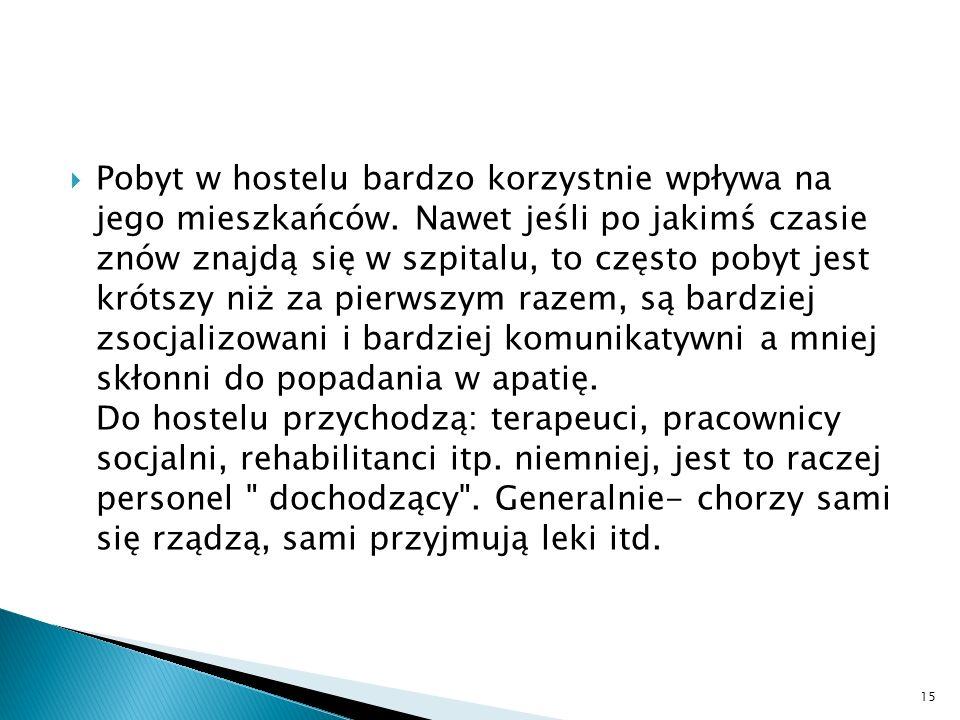 Pobyt w hostelu bardzo korzystnie wpływa na jego mieszkańców. Nawet jeśli po jakimś czasie znów znajdą się w szpitalu, to często pobyt jest krótszy ni