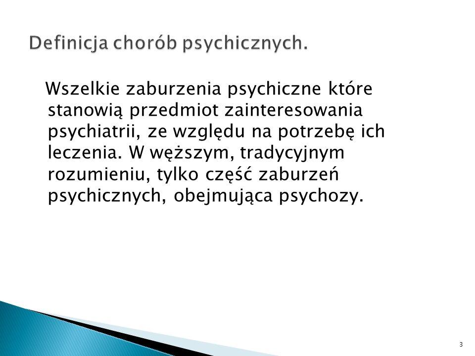 Zaburzenia czynności organizmu, uniemożliwiające człowiekowi utrzymanie równowagi wewnętrznej lub zrównoważonej wymiany z otoczeniem, manifestujące się w zakresie czynności psychicznych (obie powyższe definicje na podstawie: Encyklopedii PWN) 4