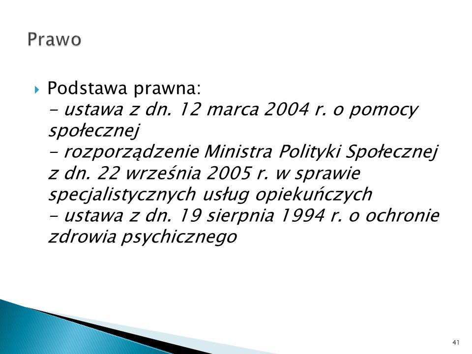Podstawa prawna: - ustawa z dn. 12 marca 2004 r. o pomocy społecznej - rozporządzenie Ministra Polityki Społecznej z dn. 22 września 2005 r. w sprawie