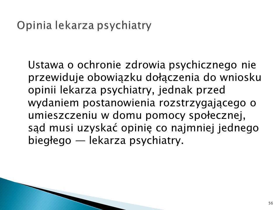 Ustawa o ochronie zdrowia psychicznego nie przewiduje obowiązku dołączenia do wniosku opinii lekarza psychiatry, jednak przed wydaniem postanowienia r