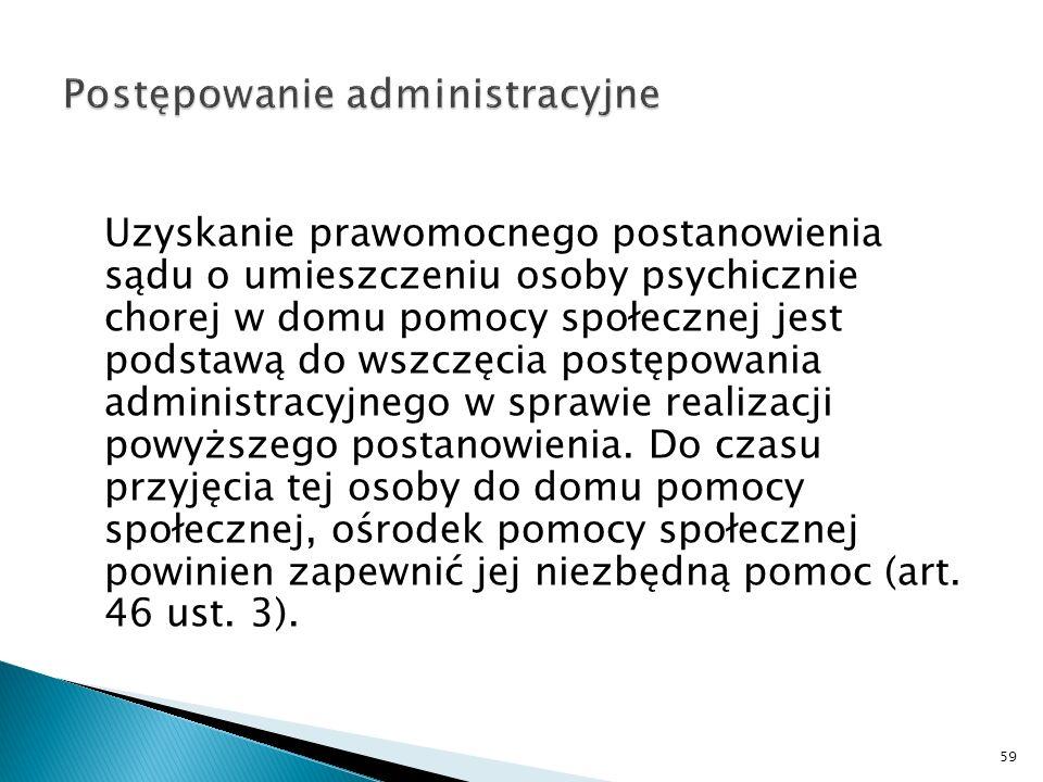 Uzyskanie prawomocnego postanowienia sądu o umieszczeniu osoby psychicznie chorej w domu pomocy społecznej jest podstawą do wszczęcia postępowania adm