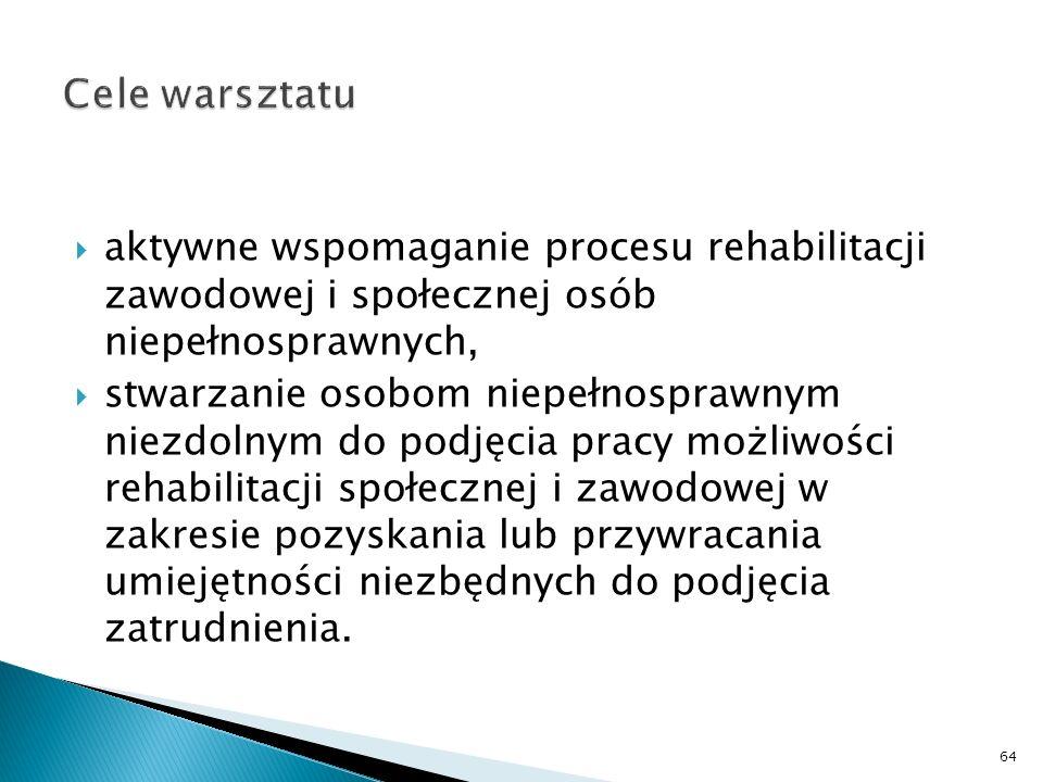 aktywne wspomaganie procesu rehabilitacji zawodowej i społecznej osób niepełnosprawnych, stwarzanie osobom niepełnosprawnym niezdolnym do podjęcia pra