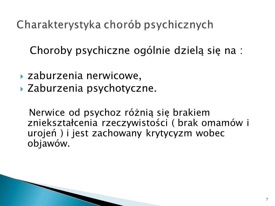 Choroby psychiczne ogólnie dzielą się na : zaburzenia nerwicowe, Zaburzenia psychotyczne. Nerwice od psychoz różnią się brakiem zniekształcenia rzeczy
