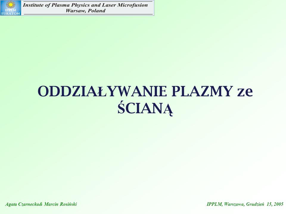 ODDZIA Ł YWANIE PLAZMY ze Ś CIAN Ą Agata Czarnecka& Marcin Rosiński IPPLM, Warszawa, Grudzień 15, 2005