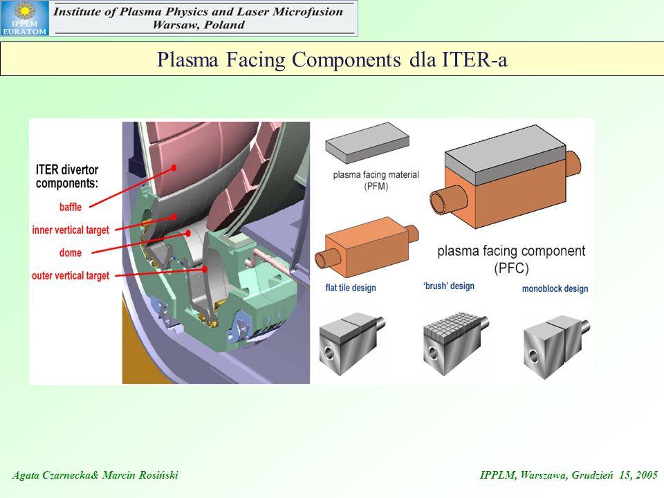 Agata Czarnecka& Marcin Rosiński IPPLM, Warszawa, Grudzień 15, 2005 Plasma Facing Components dla ITER-a