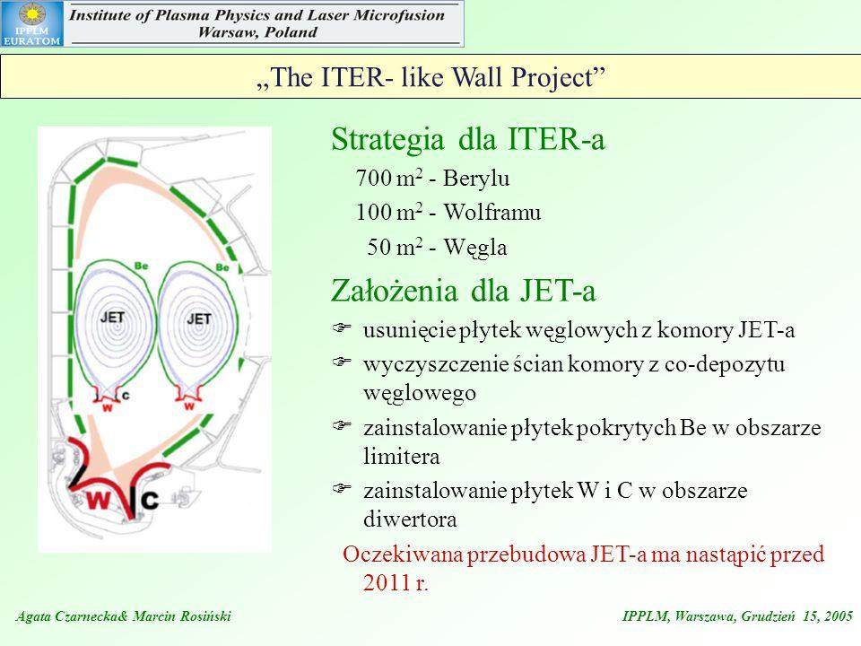 Agata Czarnecka& Marcin Rosiński IPPLM, Warszawa, Grudzień 15, 2005 The ITER- like Wall Project Strategia dla ITER-a 700 m 2 - Berylu 100 m 2 - Wolfra