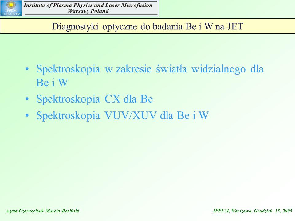 Agata Czarnecka& Marcin Rosiński IPPLM, Warszawa, Grudzień 15, 2005 Diagnostyki optyczne do badania Be i W na JET Spektroskopia w zakresie światła wid