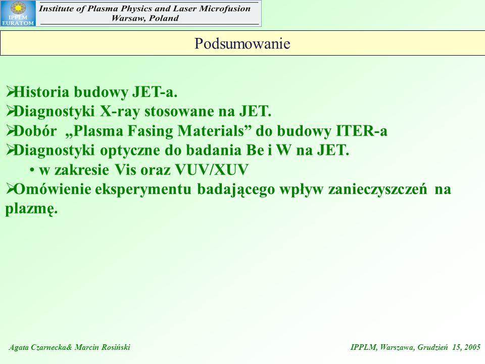 Agata Czarnecka& Marcin Rosiński IPPLM, Warszawa, Grudzień 15, 2005 Podsumowanie Historia budowy JET-a. Diagnostyki X-ray stosowane na JET. Dobór Plas