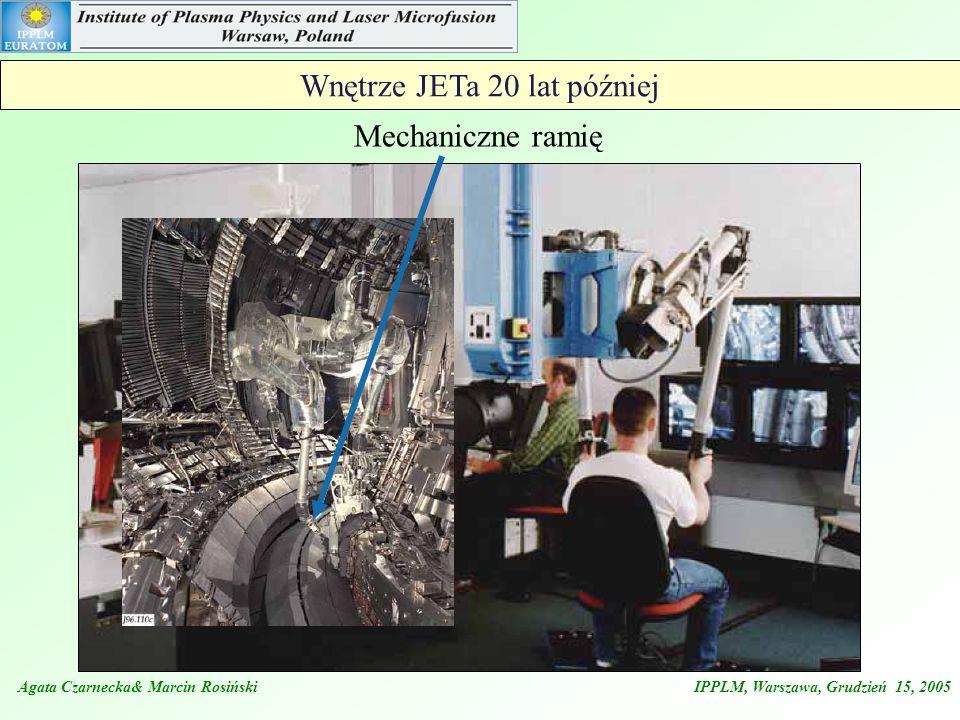 Agata Czarnecka& Marcin Rosiński IPPLM, Warszawa, Grudzień 15, 2005 The ITER- like Wall Project Strategia dla ITER-a 700 m 2 - Berylu 100 m 2 - Wolframu 50 m 2 - Węgla Założenia dla JET-a usunięcie płytek węglowych z komory JET-a wyczyszczenie ścian komory z co-depozytu węglowego zainstalowanie płytek pokrytych Be w obszarze limitera zainstalowanie płytek W i C w obszarze diwertora Oczekiwana przebudowa JET-a ma nastąpić przed 2011 r.