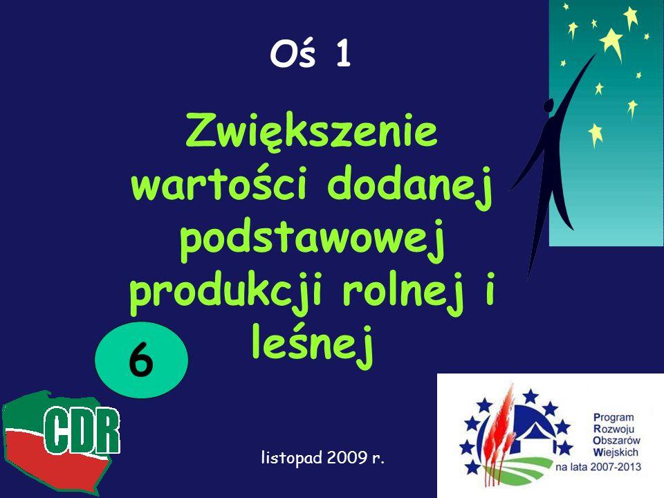 Oś 1 Zwiększenie wartości dodanej podstawowej produkcji rolnej i leśnej 6 listopad 2009 r.