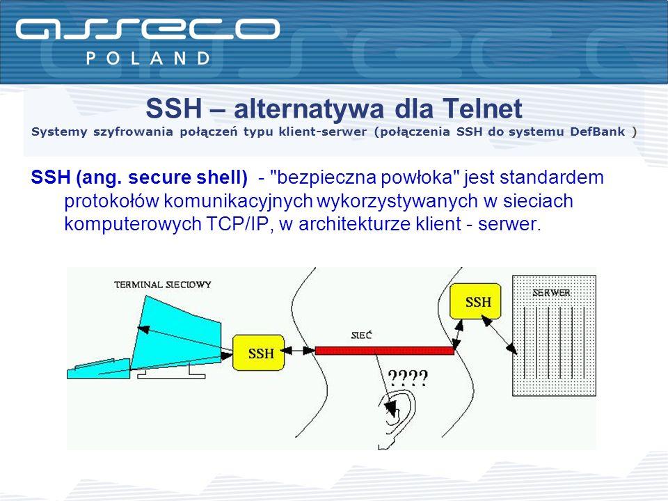 Ogólne założenia protokołu SSH Ogólne założenia protokołu SSH powstały w grupie roboczej IETF (Internet Engineering Task Force).