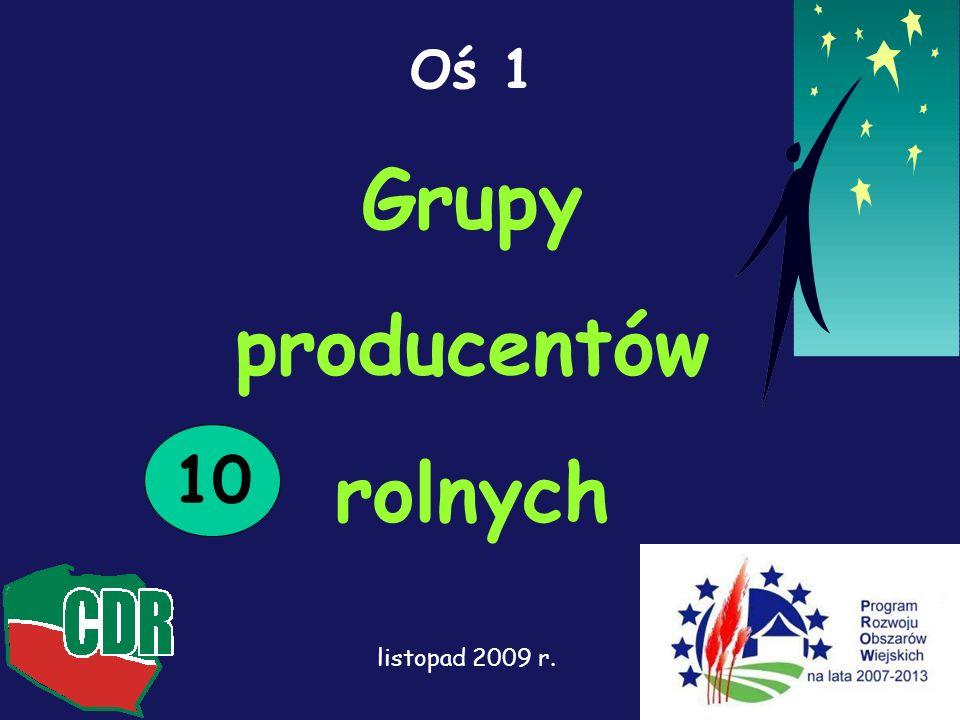1 Oś 1 Grupy producentów rolnych 10 listopad 2009 r.