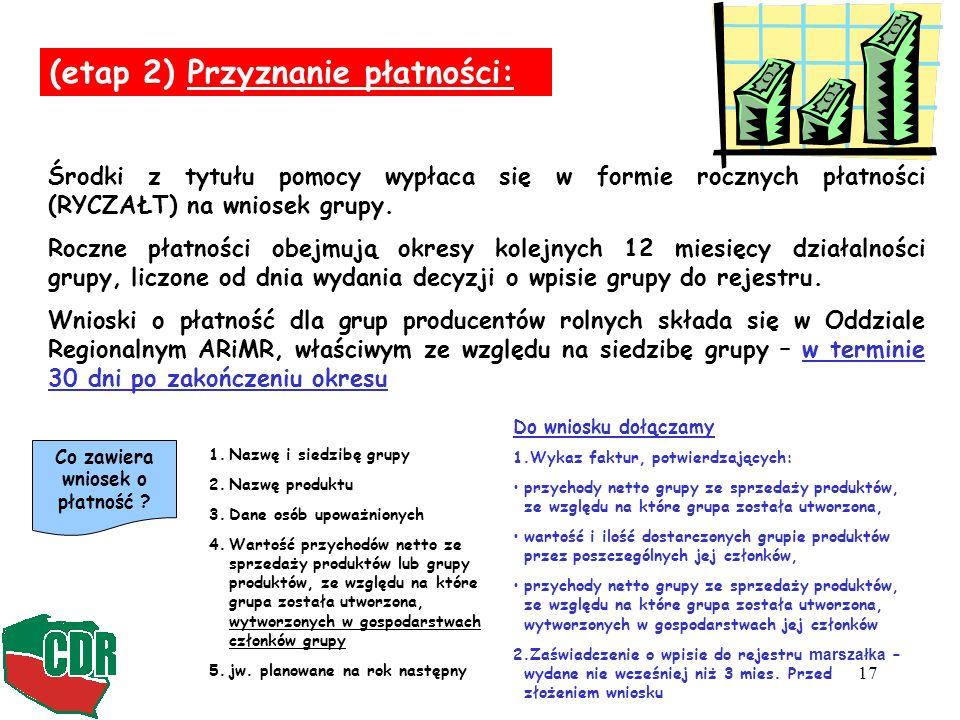 17 (etap 2) Przyznanie płatności: Środki z tytułu pomocy wypłaca się w formie rocznych płatności (RYCZAŁT) na wniosek grupy.