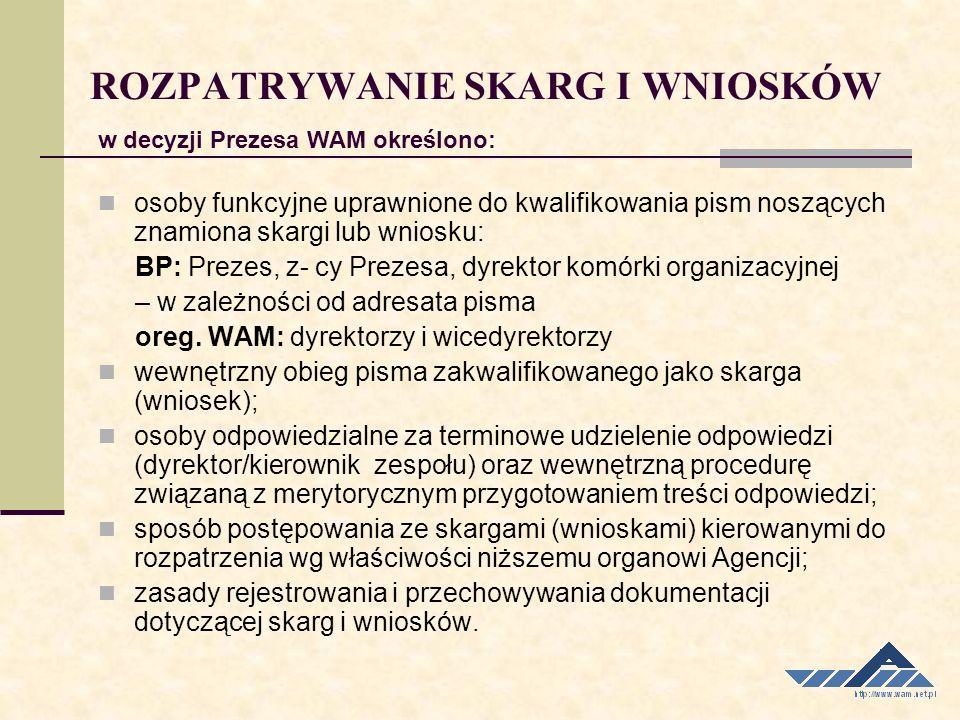 osoby funkcyjne uprawnione do kwalifikowania pism noszących znamiona skargi lub wniosku: BP: Prezes, z- cy Prezesa, dyrektor komórki organizacyjnej –