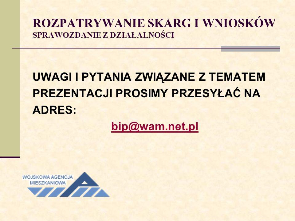 ROZPATRYWANIE SKARG I WNIOSKÓW SPRAWOZDANIE Z DZIAŁALNOŚCI UWAGI I PYTANIA ZWIĄZANE Z TEMATEM PREZENTACJI PROSIMY PRZESYŁAĆ NA ADRES: bip@wam.net.pl