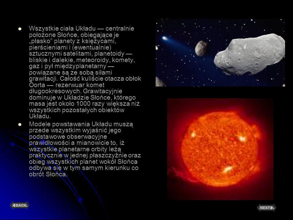 Wszystkie ciała Układu centralnie położone Słońce, obiegające je płasko planety z księżycami, pierścieniami i (ewentualnie) sztucznymi satelitami, planetoidy bliskie i dalekie, meteoroidy, komety, gaz i pył międzyplanetarny powiązane są ze sobą siłami grawitacji.