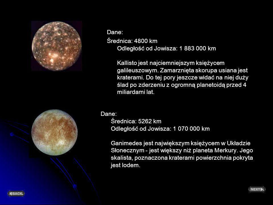 Dane: Średnica: 3 630 km Odległość od Jowisza: 421 600 km Io podlega tak silnemu przyciąganiu Jowisza, że wnętrze księżyca rozgrzewa się i topi, skoru