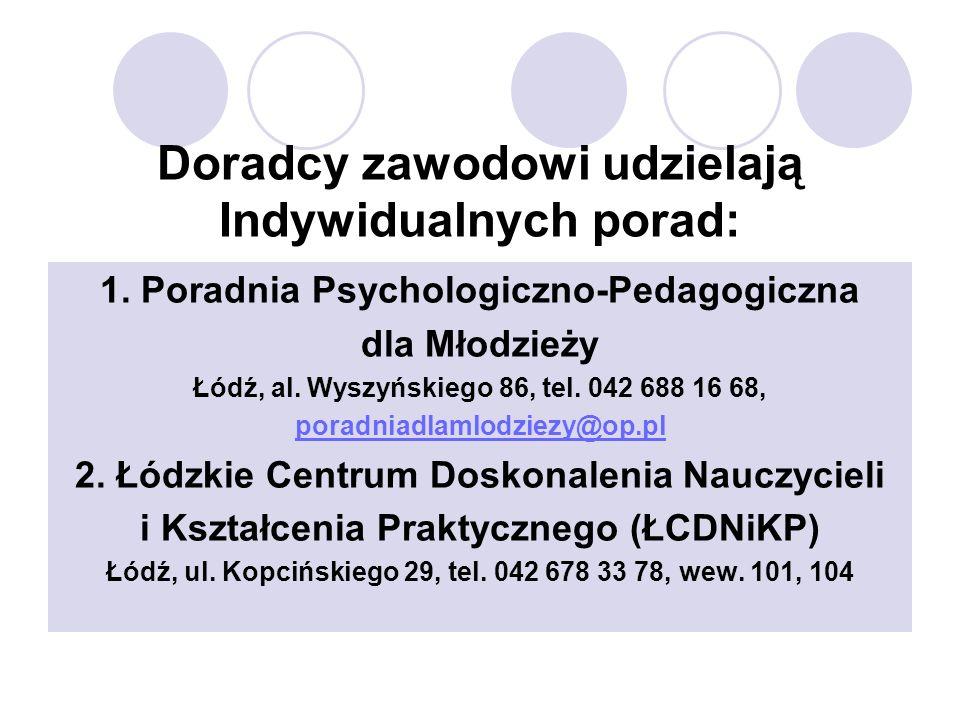 Doradcy zawodowi udzielają Indywidualnych porad: 1. Poradnia Psychologiczno-Pedagogiczna dla Młodzieży Łódź, al. Wyszyńskiego 86, tel. 042 688 16 68,