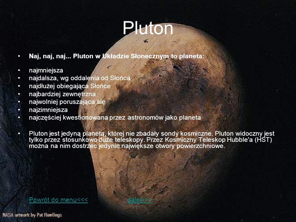 Pluton Naj, naj, naj... Pluton w Układzie Słonecznym to planeta: najmniejsza najdalsza, wg oddalenia od Słońca najdłużej obiegająca Słońce najbardziej
